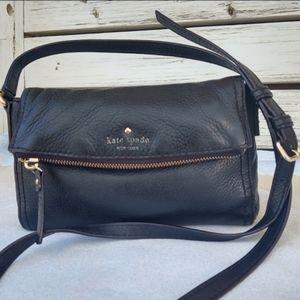 Kate Spade Carson Foldover Black Leather Crossbody